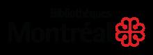 Logo de la Bibliothèque de Montréal : « Bibliothèques Montréal » et fleur à quatre pétales