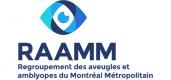 Logo du R.A.A.M.M. Regroupement des aveugles du Montréal Métropolitain et un œil.